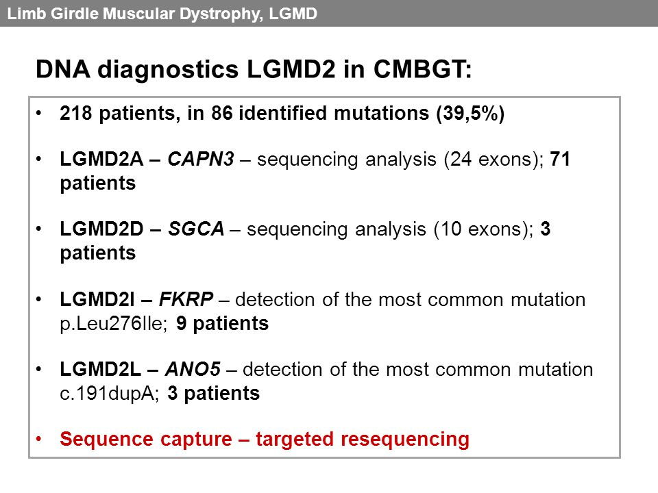 DNA diagnostics LGMD2 in CMBGT: