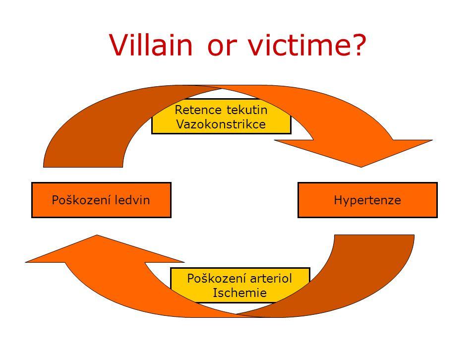 Villain or victime Retence tekutin Vazokonstrikce Poškození ledvin