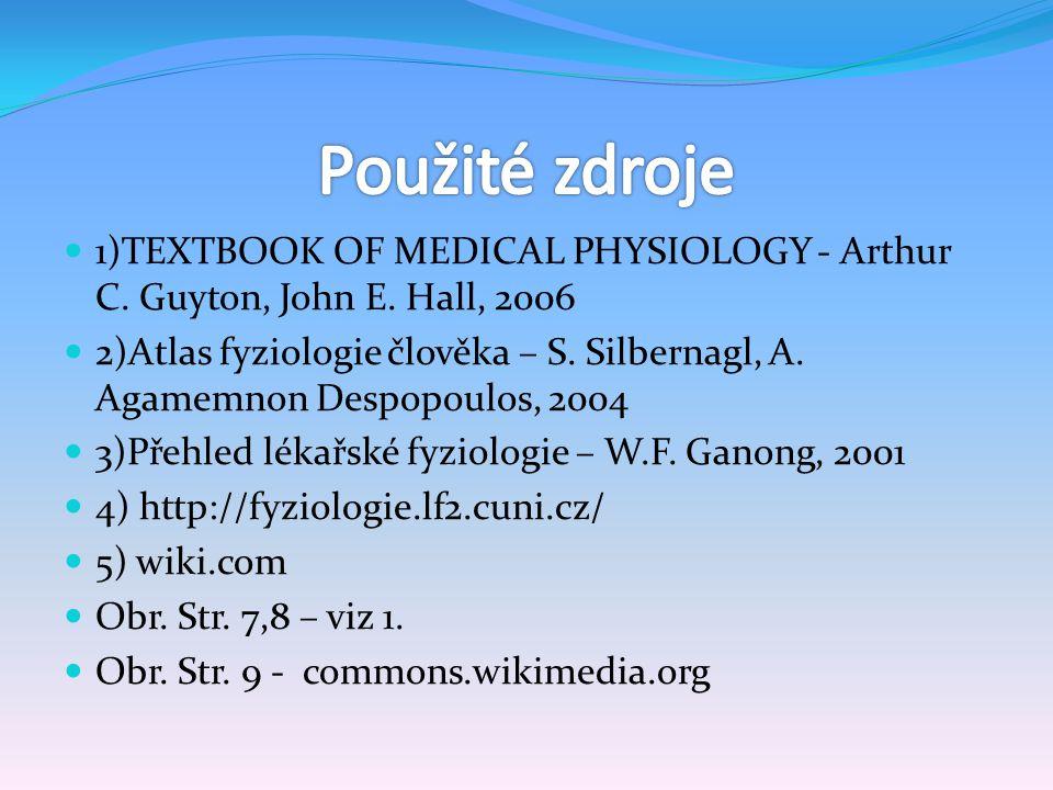 Použité zdroje 1)TEXTBOOK OF MEDICAL PHYSIOLOGY - Arthur C. Guyton, John E. Hall, 2006.