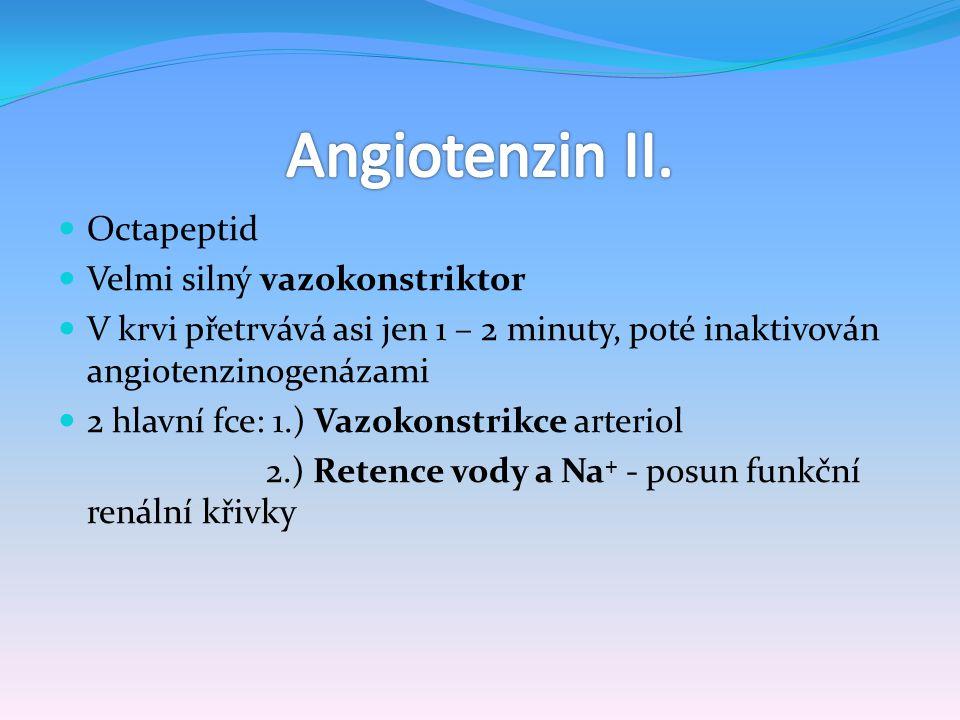 Angiotenzin II. Octapeptid Velmi silný vazokonstriktor