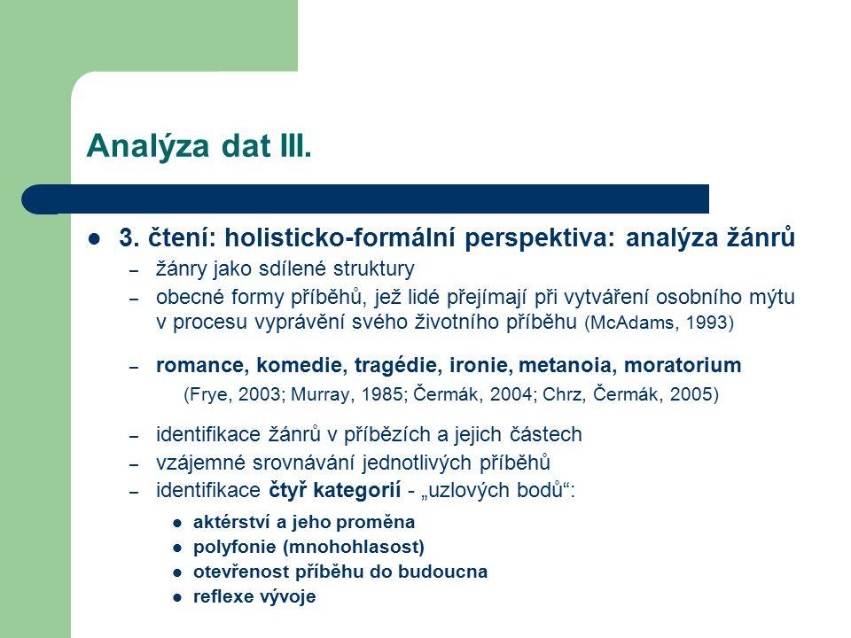 Analýza dat III. 3. čtení: holisticko-formální perspektiva: analýza žánrů. žánry jako sdílené struktury.