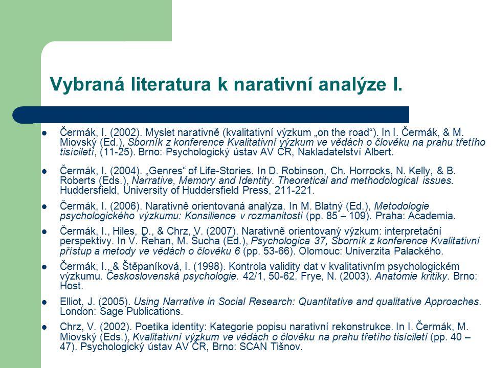 Vybraná literatura k narativní analýze I.