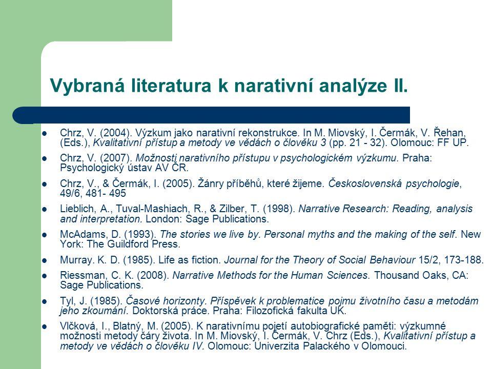 Vybraná literatura k narativní analýze II.
