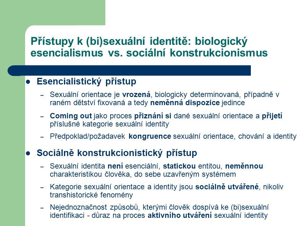 Přístupy k (bi)sexuální identitě: biologický esencialismus vs