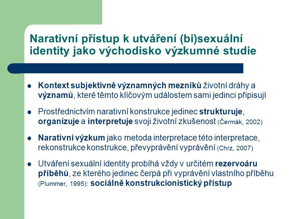 Narativní přístup k utváření (bi)sexuální identity jako východisko výzkumné studie