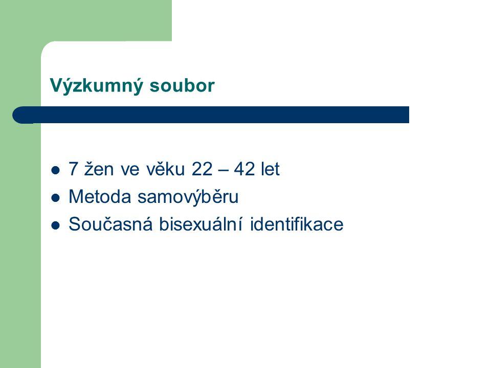 Výzkumný soubor 7 žen ve věku 22 – 42 let Metoda samovýběru Současná bisexuální identifikace