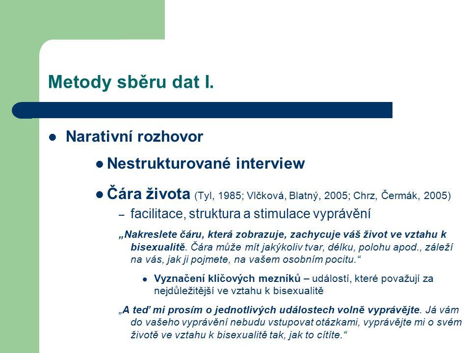 Metody sběru dat I. Narativní rozhovor Nestrukturované interview