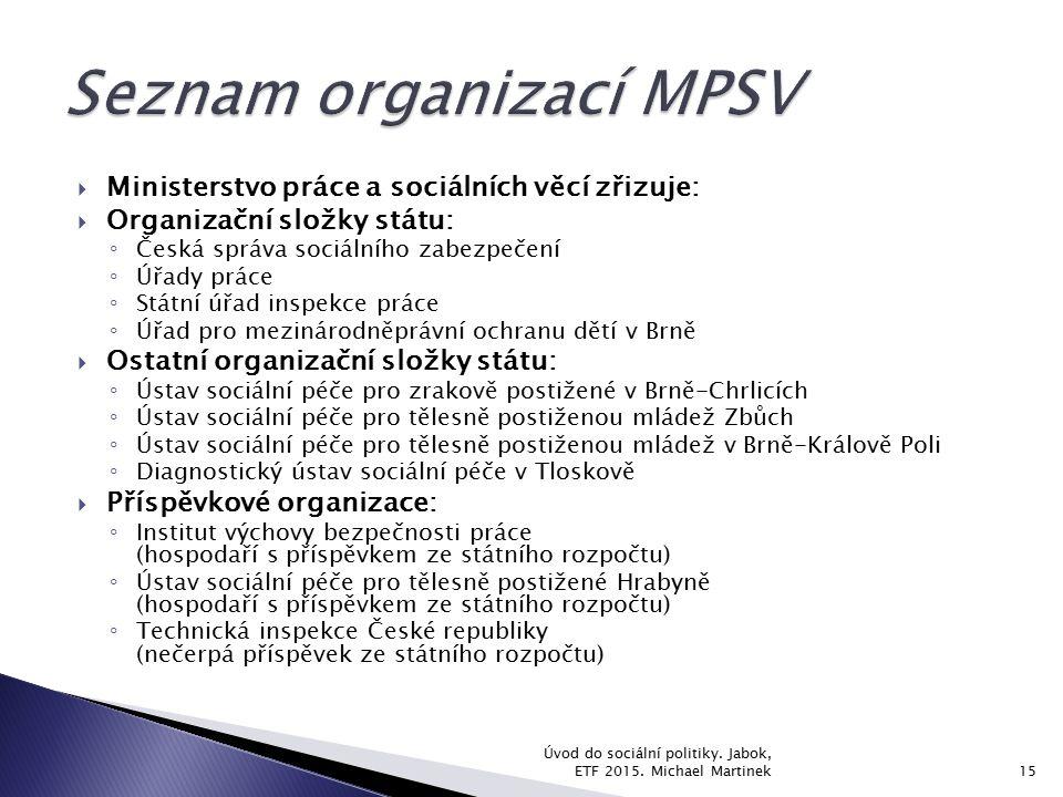 Seznam organizací MPSV