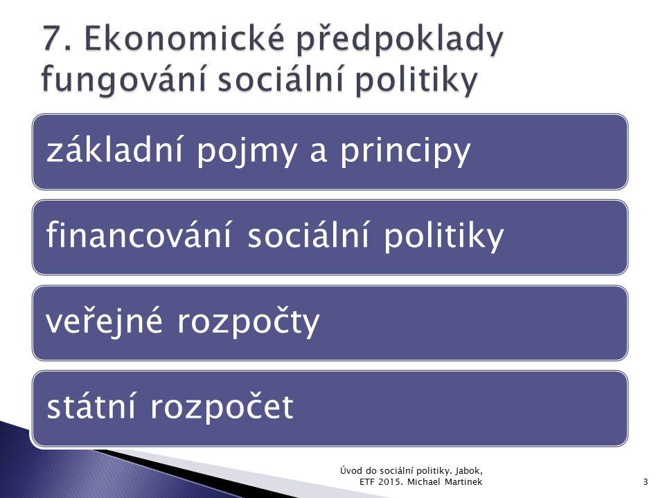 7. Ekonomické předpoklady fungování sociální politiky