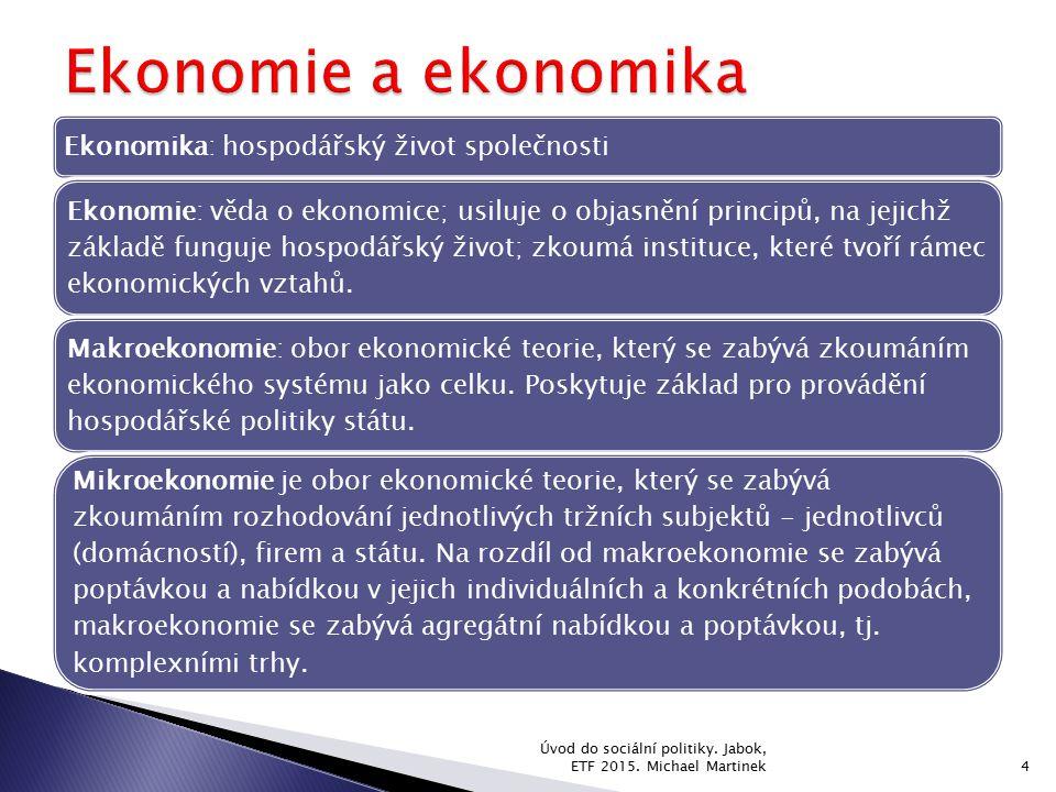 Ekonomie a ekonomika Ekonomika: hospodářský život společnosti