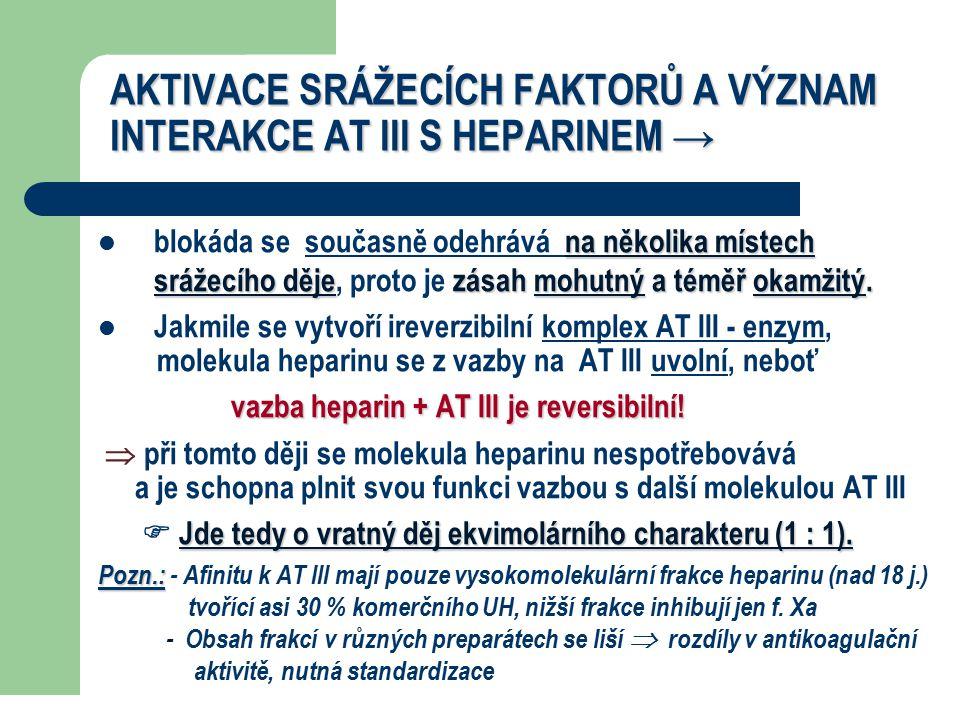 AKTIVACE SRÁŽECÍCH FAKTORŮ A VÝZNAM INTERAKCE AT III S HEPARINEM →
