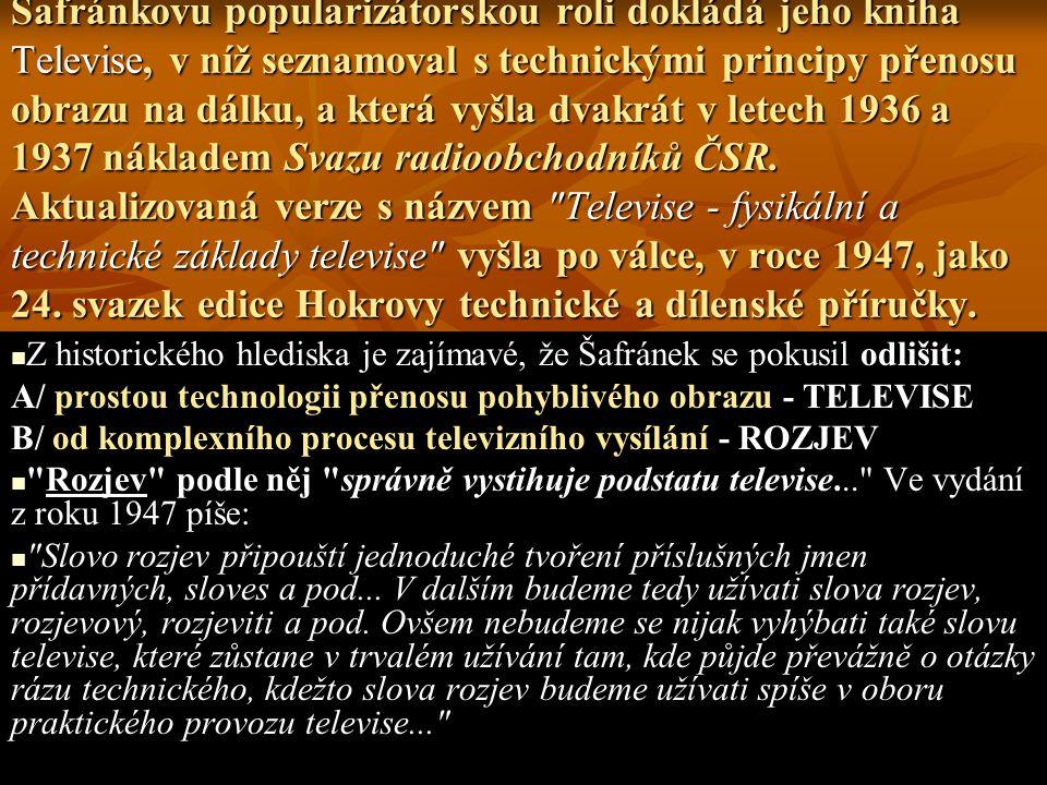 Šafránkovu popularizátorskou roli dokládá jeho kniha Televise, v níž seznamoval s technickými principy přenosu obrazu na dálku, a která vyšla dvakrát v letech 1936 a 1937 nákladem Svazu radioobchodníků ČSR. Aktualizovaná verze s názvem Televise - fysikální a technické základy televise vyšla po válce, v roce 1947, jako 24. svazek edice Hokrovy technické a dílenské příručky.