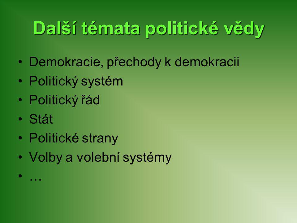 Další témata politické vědy