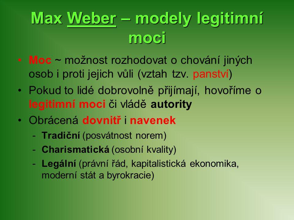 Max Weber – modely legitimní moci