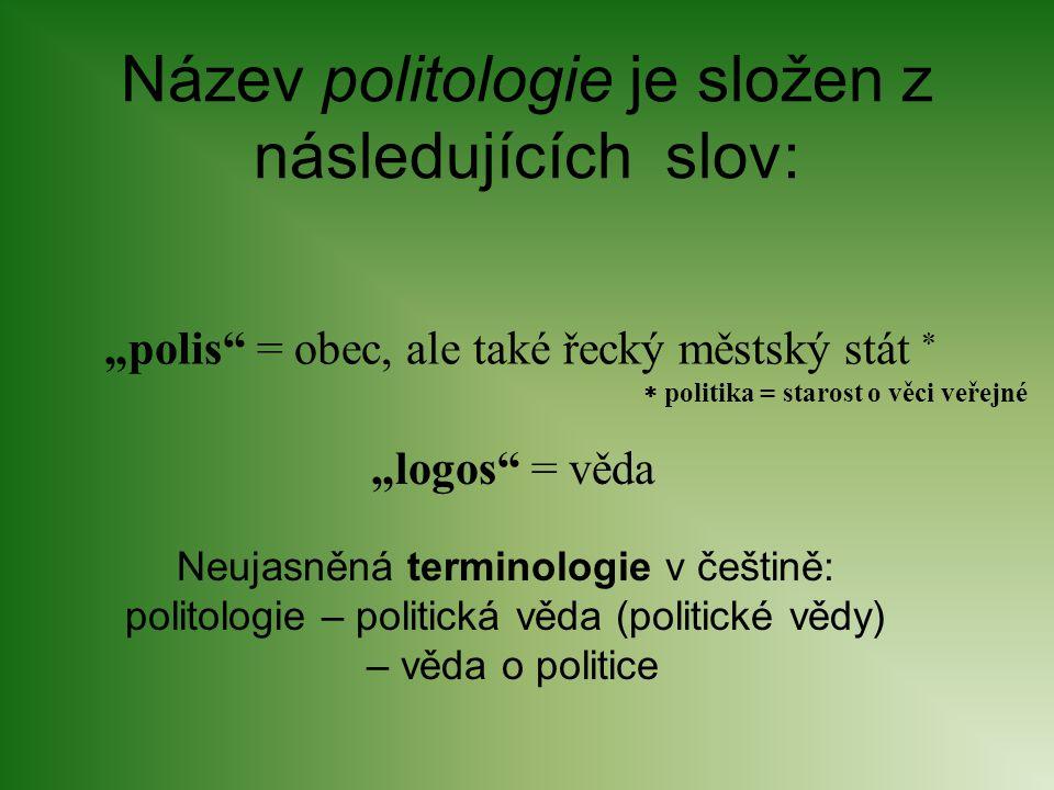Název politologie je složen z následujících slov: