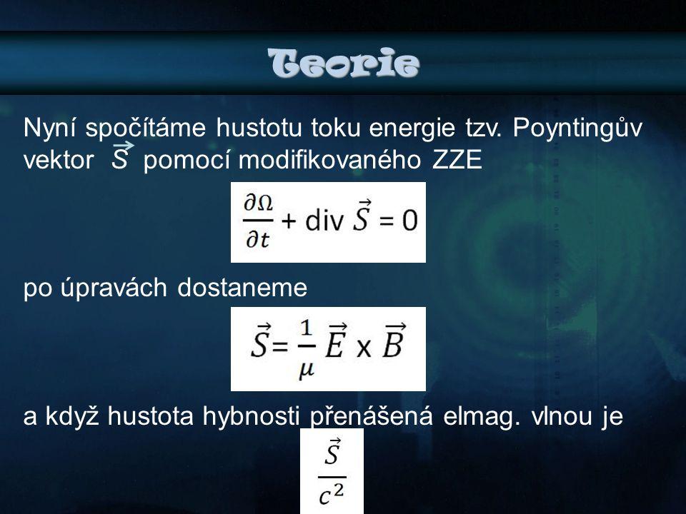 Teorie Nyní spočítáme hustotu toku energie tzv. Poyntingův vektor S pomocí modifikovaného ZZE. po úpravách dostaneme.