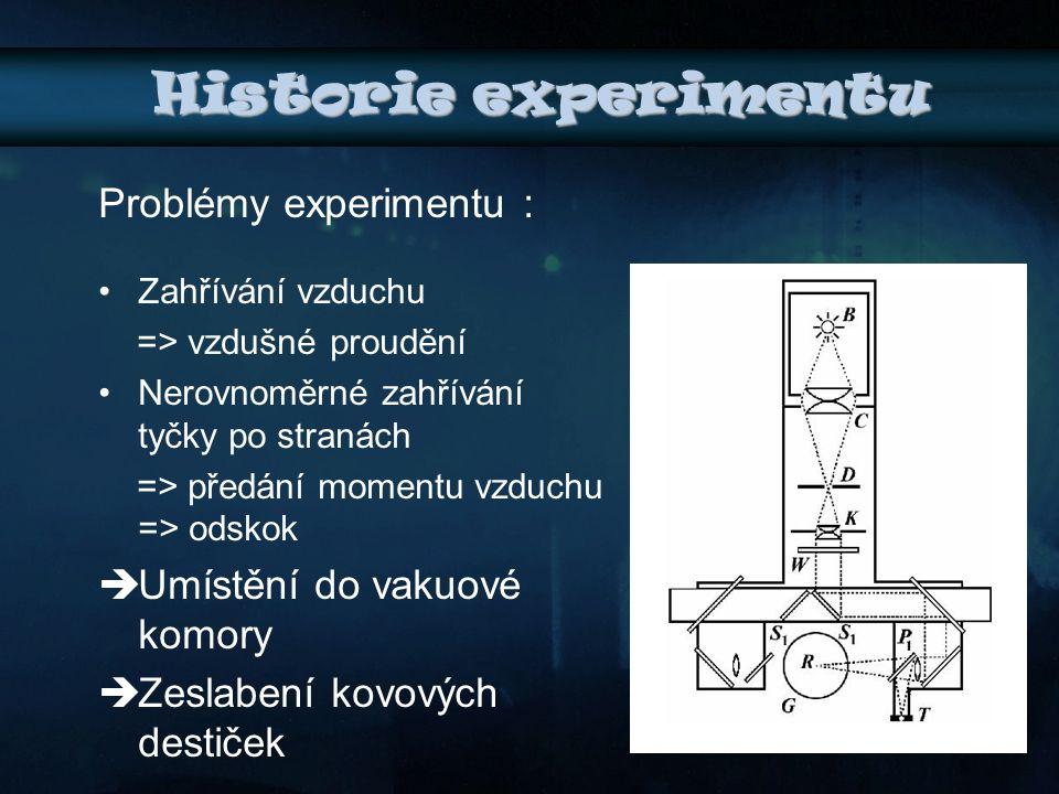 Historie experimentu Problémy experimentu : Umístění do vakuové komory