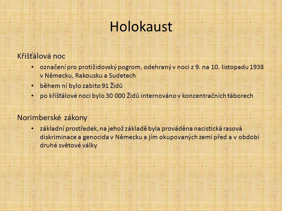 Holokaust Křišťálová noc Norimberské zákony