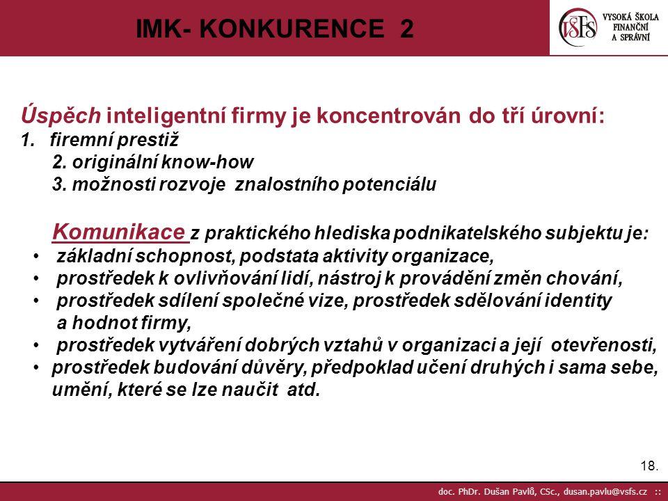 IMK- KONKURENCE 2 Úspěch inteligentní firmy je koncentrován do tří úrovní: firemní prestiž. 2. originální know-how.