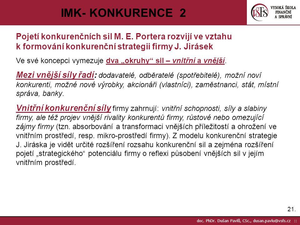 IMK- KONKURENCE 2 Pojetí konkurenčních sil M. E. Portera rozvijí ve vztahu k formování konkurenční strategii firmy J. Jirásek.