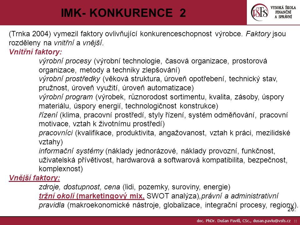 IMK- KONKURENCE 2 (Trnka 2004) vymezil faktory ovlivňující konkurenceschopnost výrobce. Faktory jsou rozděleny na vnitřní a vnější.