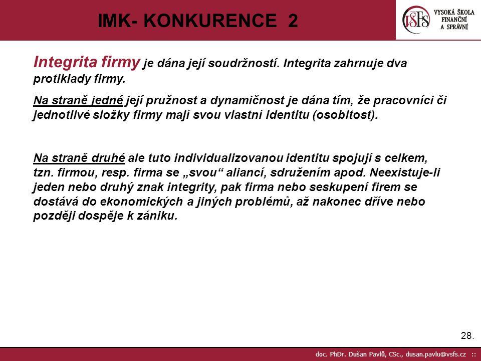 IMK- KONKURENCE 2 Integrita firmy je dána její soudržností. Integrita zahrnuje dva protiklady firmy.