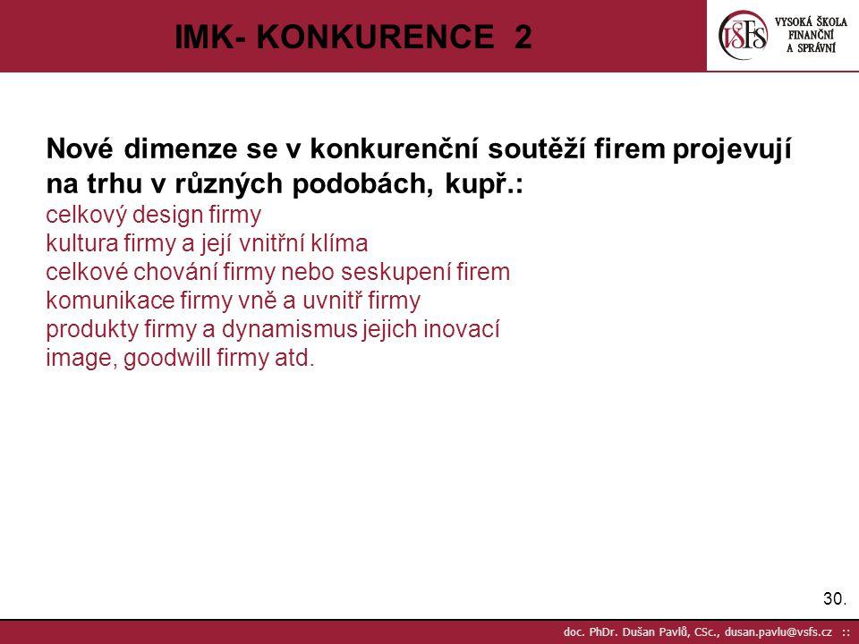 IMK- KONKURENCE 2 Nové dimenze se v konkurenční soutěží firem projevují na trhu v různých podobách, kupř.: