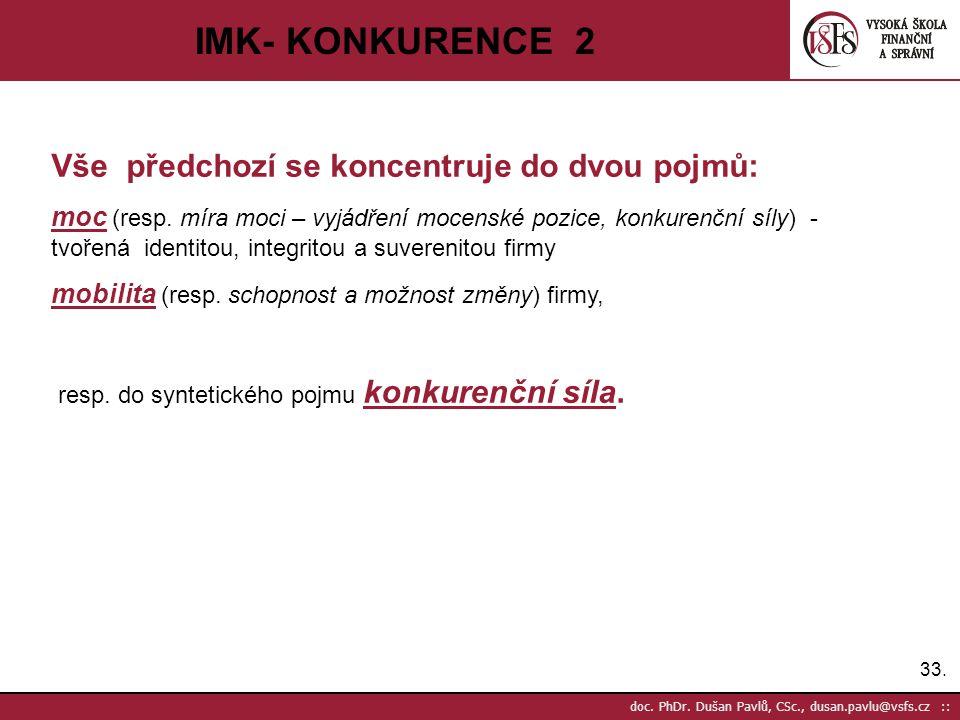 IMK- KONKURENCE 2 Vše předchozí se koncentruje do dvou pojmů: