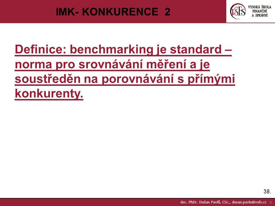 IMK- KONKURENCE 2 Definice: benchmarking je standard – norma pro srovnávání měření a je soustředěn na porovnávání s přímými konkurenty.