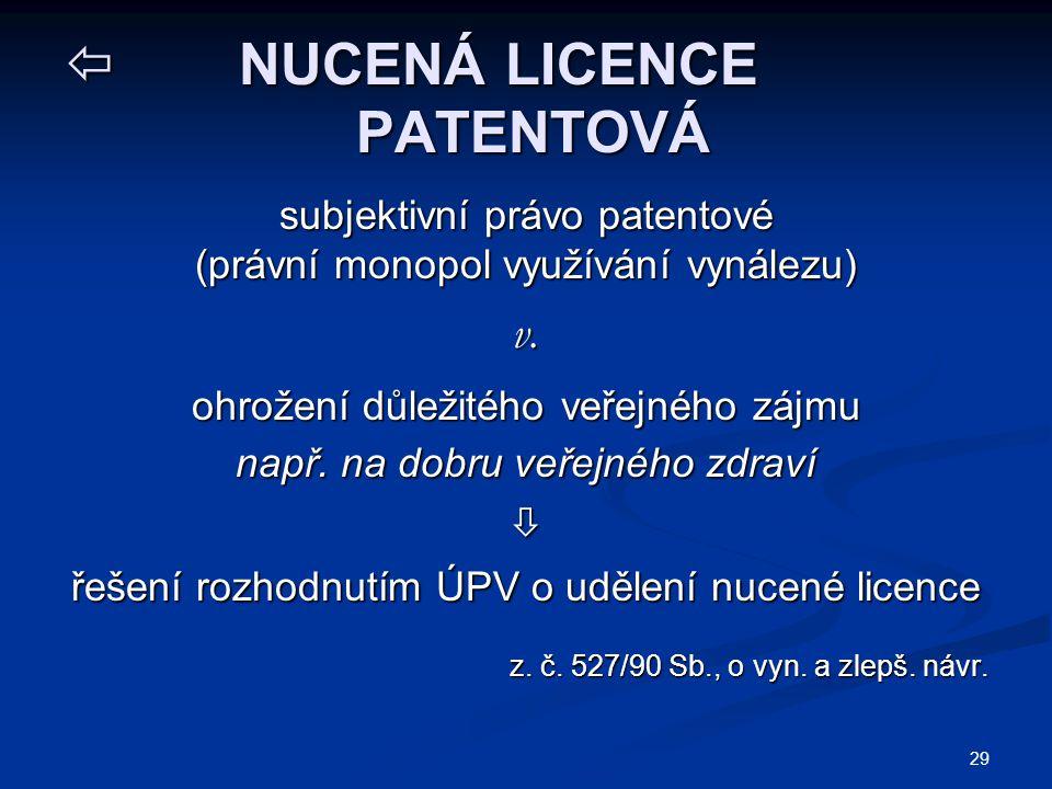 NUCENÁ LICENCE PATENTOVÁ