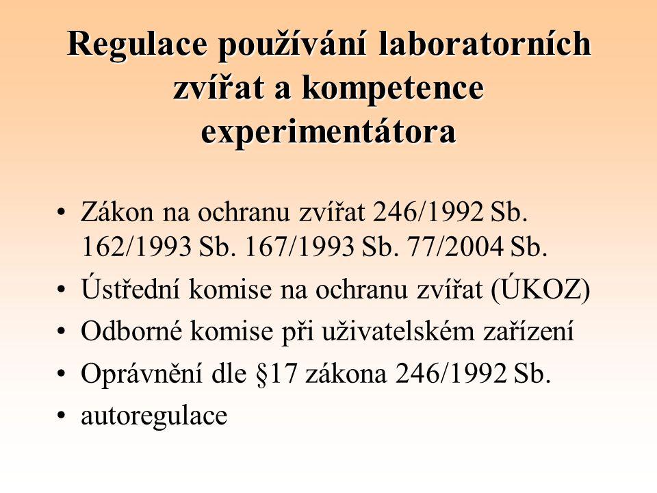 Regulace používání laboratorních zvířat a kompetence experimentátora