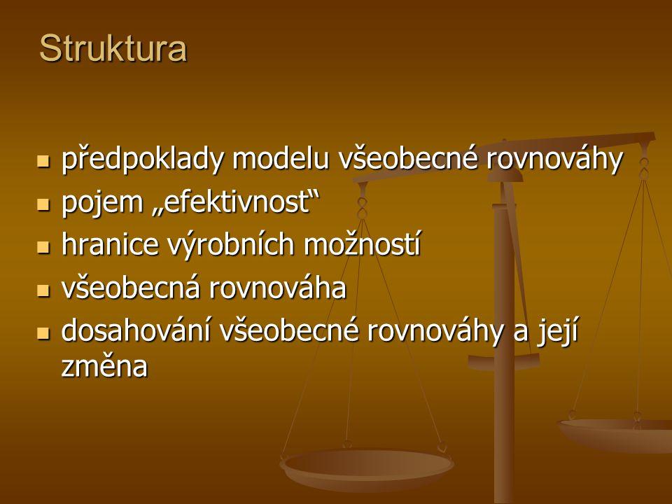 """Struktura předpoklady modelu všeobecné rovnováhy pojem """"efektivnost"""