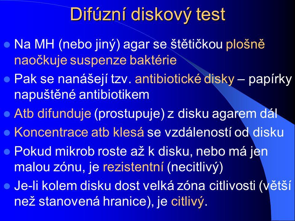 Difúzní diskový test Na MH (nebo jiný) agar se štětičkou plošně naočkuje suspenze baktérie.