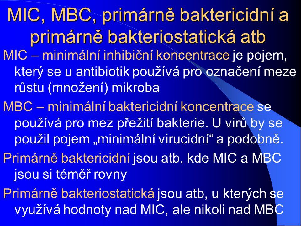 MIC, MBC, primárně baktericidní a primárně bakteriostatická atb