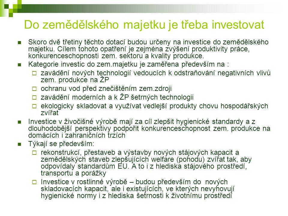 Do zemědělského majetku je třeba investovat