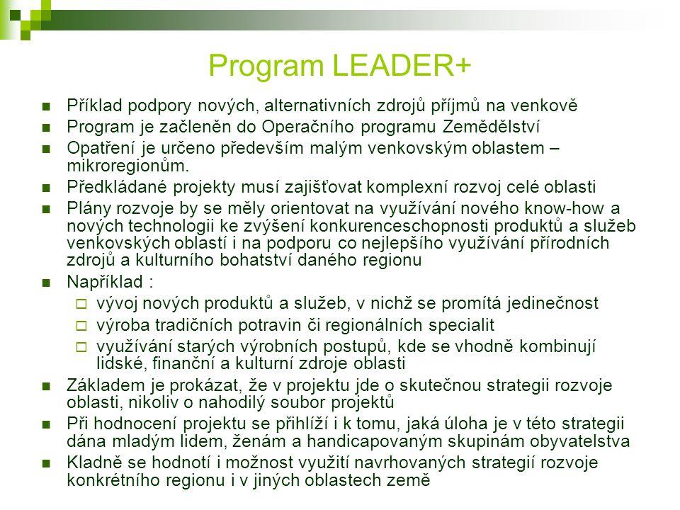 Program LEADER+ Příklad podpory nových, alternativních zdrojů příjmů na venkově. Program je začleněn do Operačního programu Zemědělství.