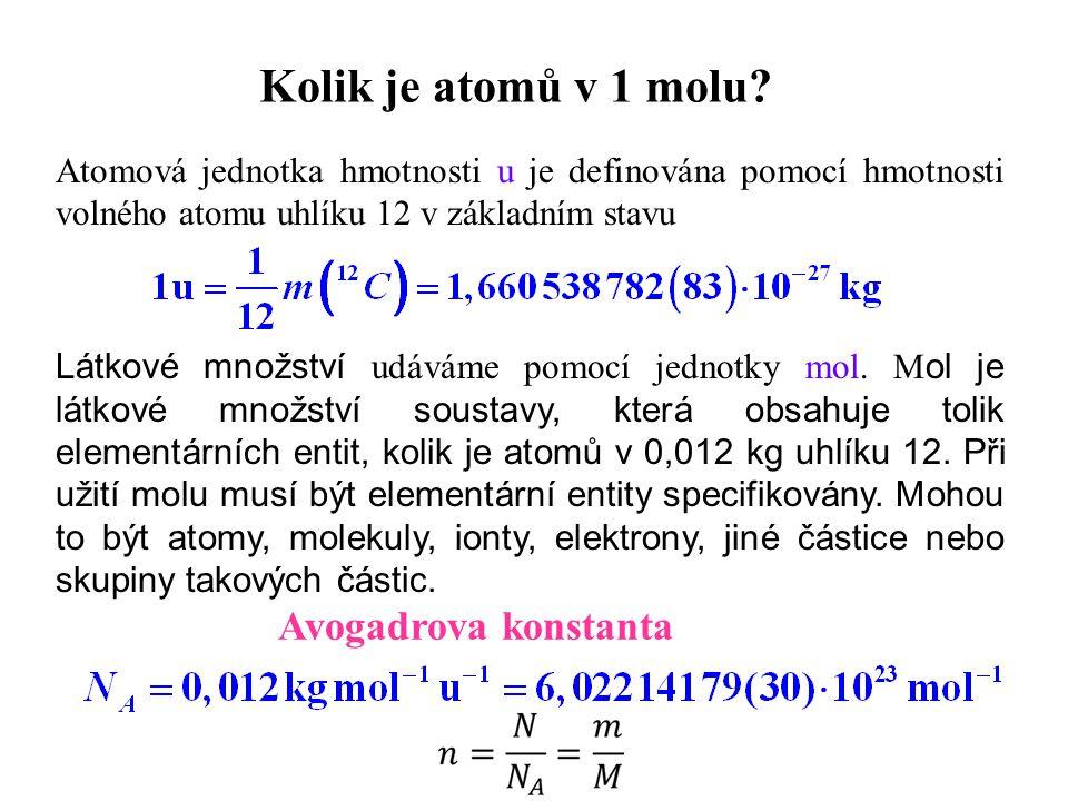 Kolik je atomů v 1 molu Avogadrova konstanta