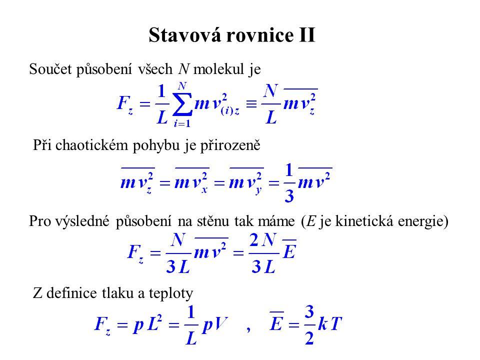 Stavová rovnice II Součet působení všech N molekul je