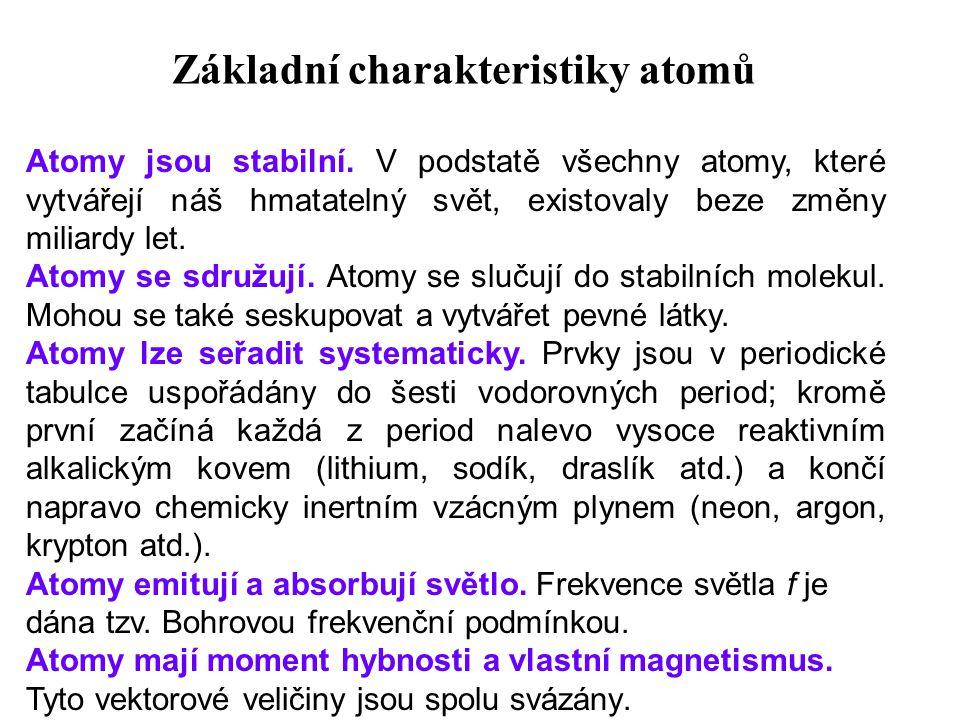 Základní charakteristiky atomů