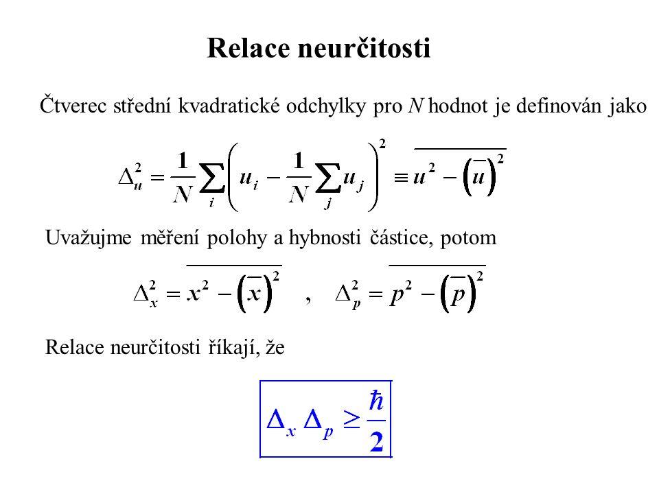 Relace neurčitosti Čtverec střední kvadratické odchylky pro N hodnot je definován jako. Uvažujme měření polohy a hybnosti částice, potom.