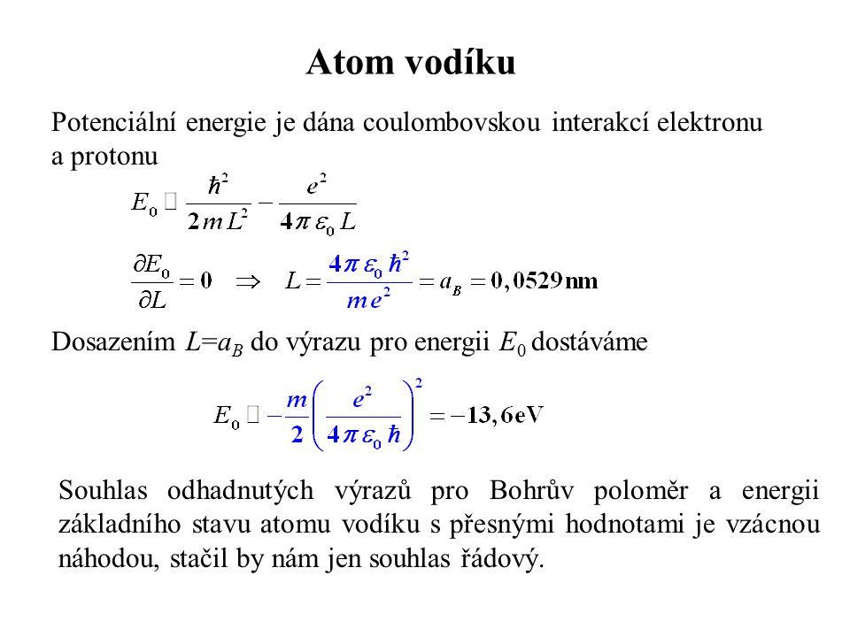 Atom vodíku Potenciální energie je dána coulombovskou interakcí elektronu. a protonu. Dosazením L=aB do výrazu pro energii E0 dostáváme.
