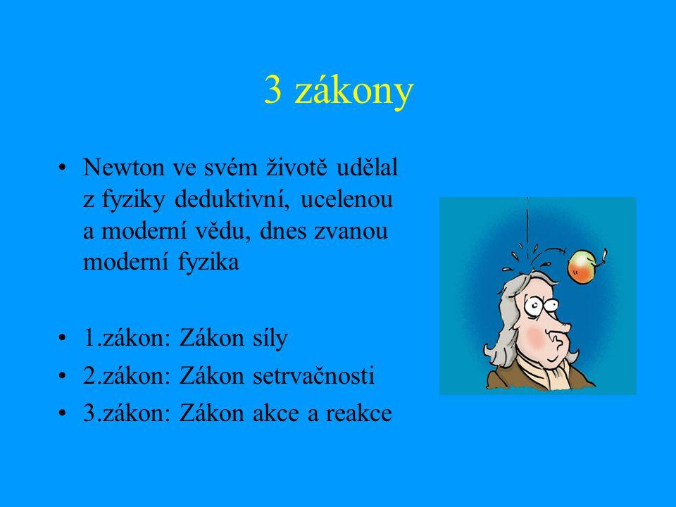 3 zákony Newton ve svém životě udělal z fyziky deduktivní, ucelenou a moderní vědu, dnes zvanou moderní fyzika.