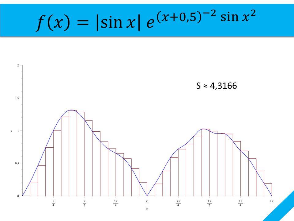 𝑓 𝑥 = sin 𝑥 𝑒 𝑥+0,5 −2 sin 𝑥 2 S ≈ 4,3166