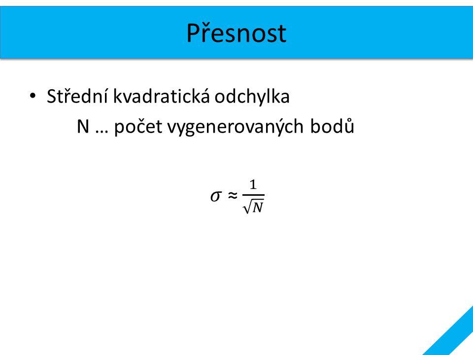 Přesnost Střední kvadratická odchylka N … počet vygenerovaných bodů