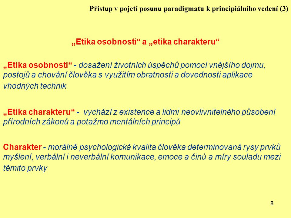 """Etika osobnosti a ""etika charakteru"