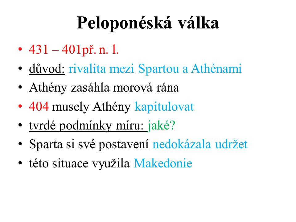 Peloponéská válka 431 – 401př. n. l.