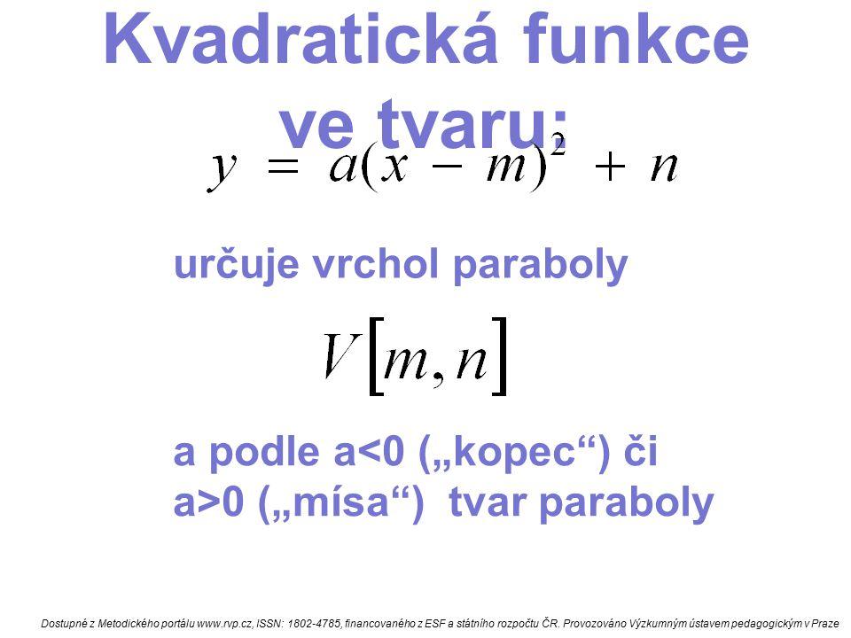 Kvadratická funkce ve tvaru: