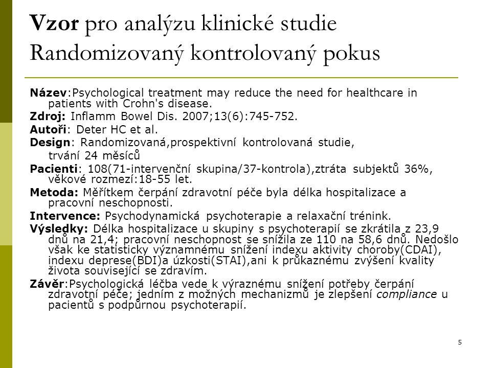 Vzor pro analýzu klinické studie Randomizovaný kontrolovaný pokus