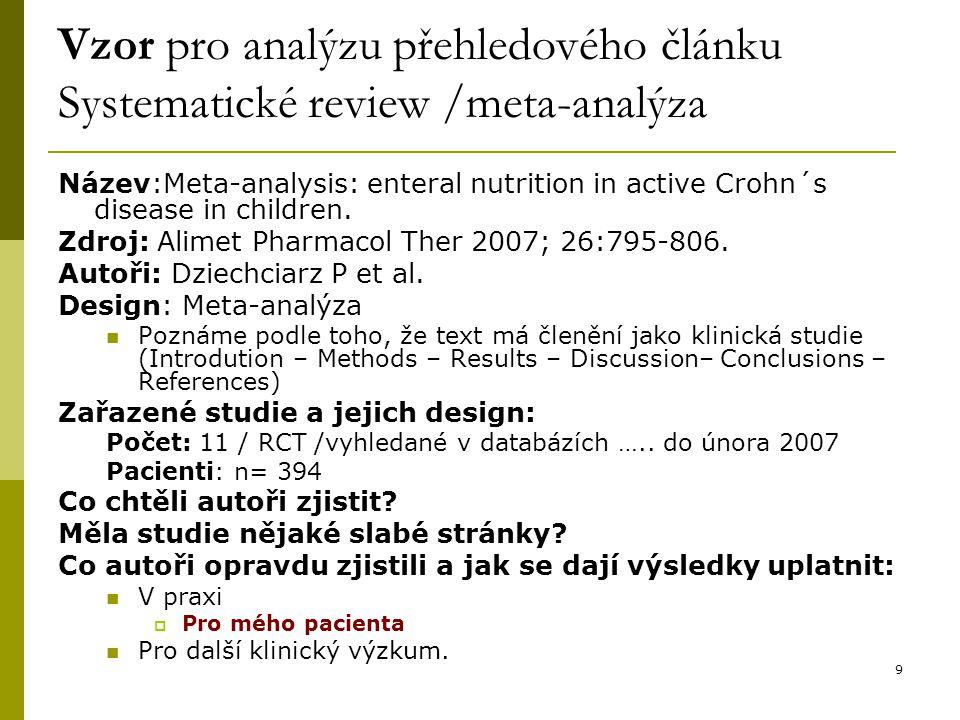 Vzor pro analýzu přehledového článku Systematické review /meta-analýza