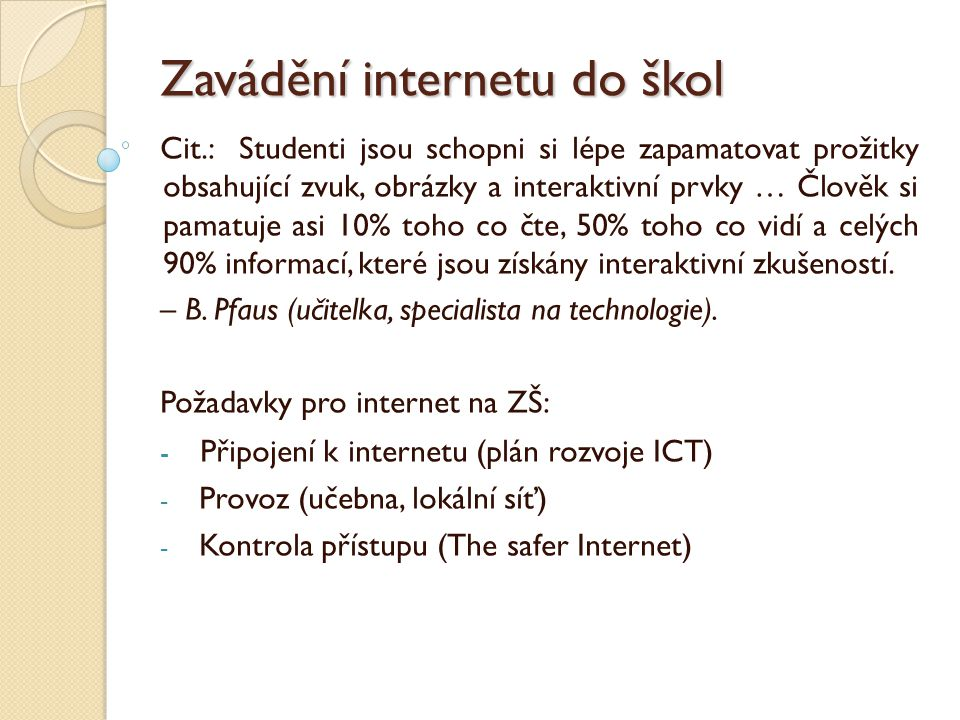 Zavádění internetu do škol